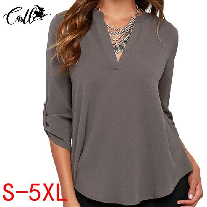 f925cf264651 2017 Casual Mujeres Blusa Camisas Femeninas Blusas Con Cuello En V ...