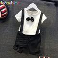 Menino Da Criança Roupas de verão Casual Crianças Roupas de Bebê Menino Terno Laço de Manga Curta T-shirt + Shorts-Suspensório 2 pcs Set 0-7 T BC1094