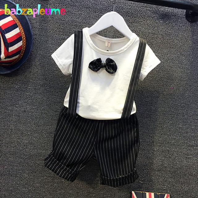 Verano Del Niño Del Muchacho Ropa Casual Ropa para Niños Baby Boy Traje de Manga Corta Lazo de la camiseta + Shorts-Liga 2 unids Conjunto 0-7 T BC1094
