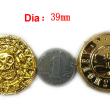 Wholesale 1000pc fancy plastic gold Aztec pirate treasure golden coins props toys for Halloween party cosplay kids bag fillers