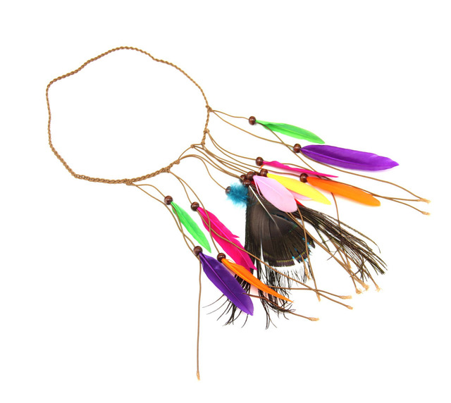 Indian Native American Style Head Band with Wild Feathers Hair wear