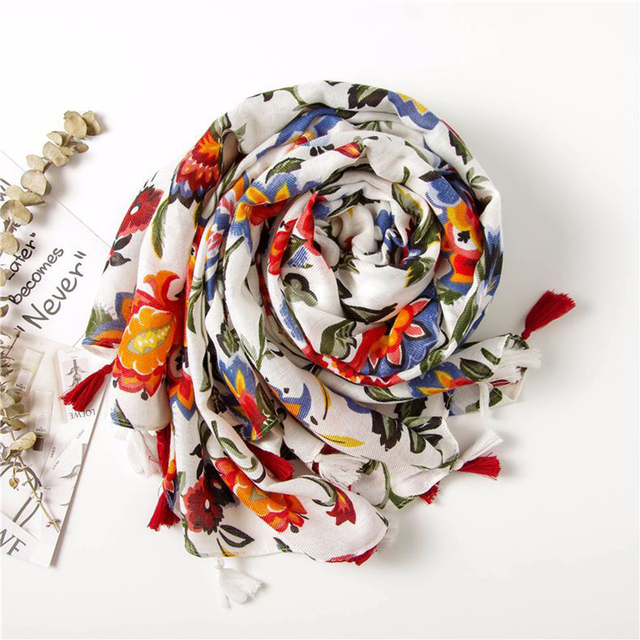 Moda feminina colorido flor impressão estilo nacional viscose cachecol borla xales e envoltórios pashmina bandana muçulmano hijab sjaal