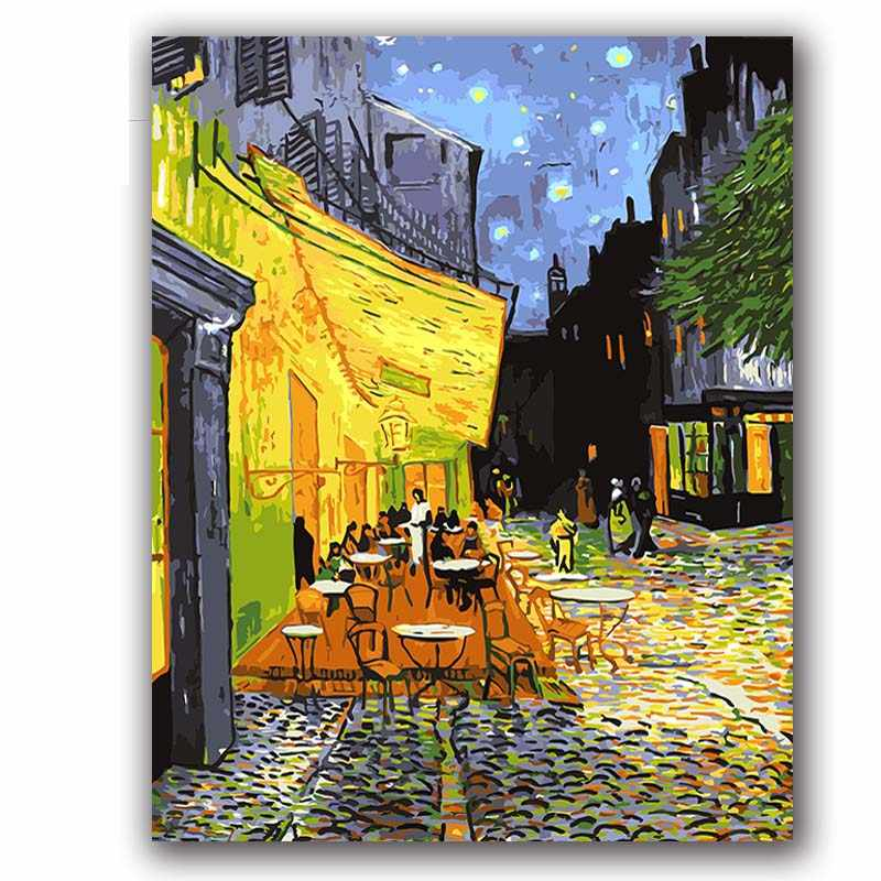 "Coloring paints by numbers vencent Van gogh's paintings ""Cafe Terrace at night"" pictures    with kits package"