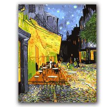 "Coloring paints by numbers vencent Van gogh's paintings ""Cafe Terrace at night"" pictures with kits package(China)"