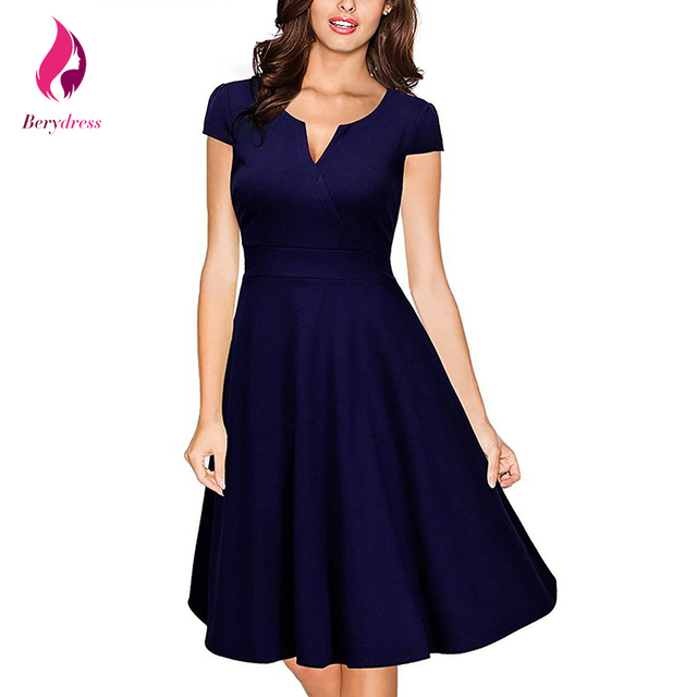 0943967e5 Berydress Retro 1950 s elegante mujeres Oficina Vestido azul marino Vestido  De Festa Formal vestidos De
