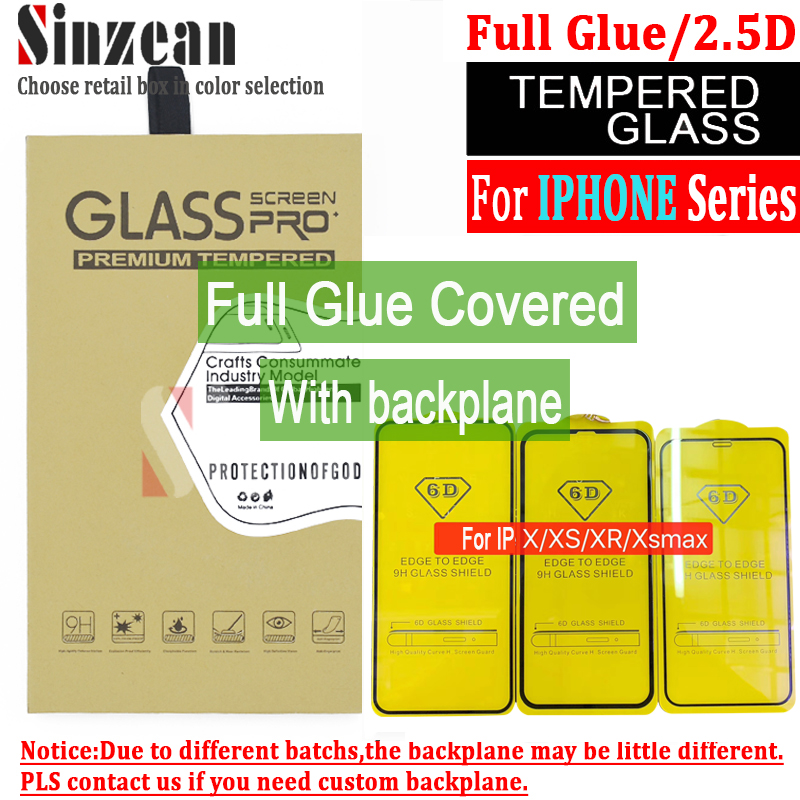 Sinzean 100pcs 2 5D Full Glue covered flat Tempered Glass for iphone XS MAX XR 7