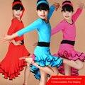Girl Kids Long Sleeves Standard Latin Competition Dress Children Modern Dance Ballroom Salsa Rumba Tango Samba Cha Cha Costumes
