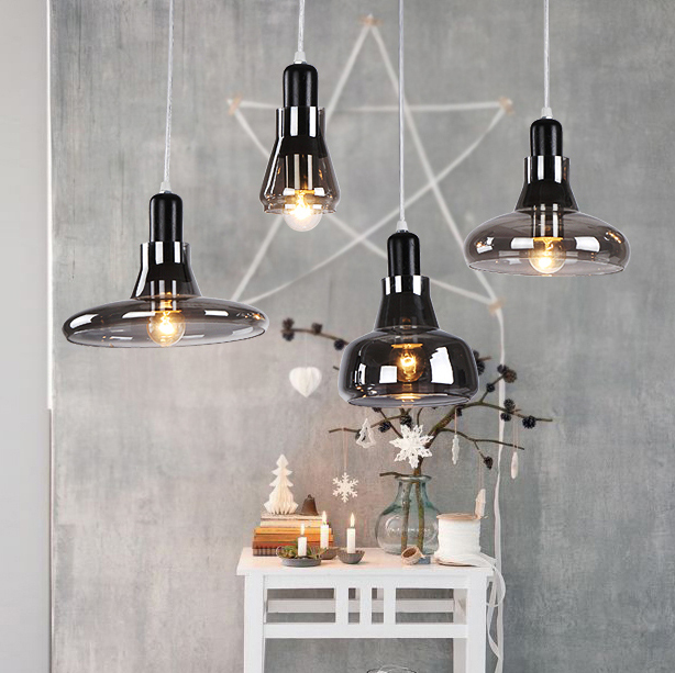 Nordic Modern Gray Single Droplights Glass Bottles Pendant Lights Fixture Home Indoor Lighting Dining Room Restaurant Cafes Lamp aluminium modern hanging lamps nordic white black pendant lights fixture home indoor lighting dining room restaurant droplights