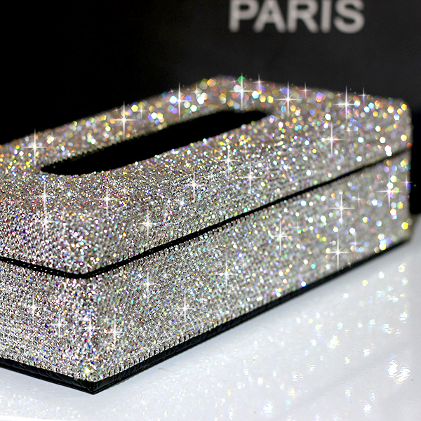 High-grade PU Leather Crystals Tissue Case Paper Box For Home Tissue Holder Car  Tissue Box Tissue Napkin Box For Home PZJH002