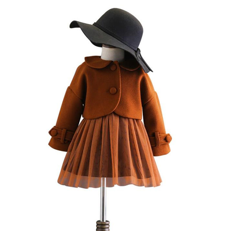 DFXD Children Clothing Sets New Winter Brown Single-breasted Turn Down Collar Wool Coat+Lace Spliced Dress 2pc Princess Set 2-8Y single breasted long sleeve turn down collar jacket