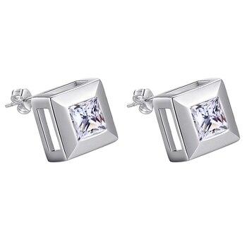bright zircon square high quality free shipping Silver Earrings for women fashion jewelry earrings /XOOFZWKM MHEKOYRV
