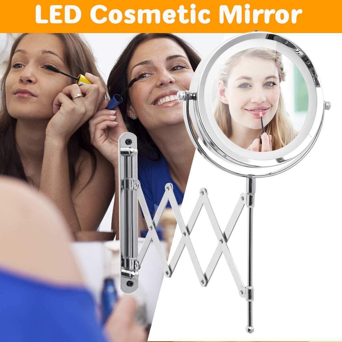 6 3X Mirror Extendable Magnifying Makeup Shaving Wall Mount LED Light Bathroom Makeup Mirrors6 3X Mirror Extendable Magnifying Makeup Shaving Wall Mount LED Light Bathroom Makeup Mirrors