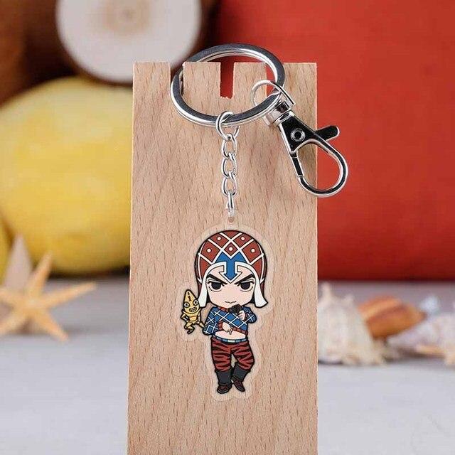 Anime Jojo Bizarre Adventure Keychains Fashion Cartoon Figure Jotaro Kujo Pendants Car Key Chains holder Keyrings Jewelry Gift 2
