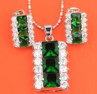 Verde brillante Multi Gemas Asistieron Multitud Square Shield 925 Pendientes de Plata de La Joyería Colgante S8597