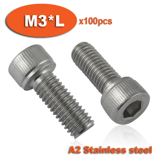 100pc DIN912 M3 x 6 8 10 12 14 16 Screw Stainless Steel A2 Hexagon Hex Socket Head Cap Screws 50pcs iso7380 m3 5 6 8 10 12 14 16 18 20 25 3mm stainless steel hexagon socket button head screw