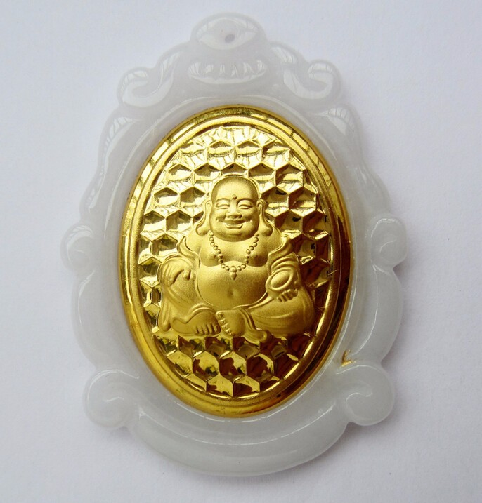 New Pure 24k Yellow Gold 100% Natural /Jadeite Beads Buddha Pendant pure 24k yellow gold 100% natural jadeite zodiac chicken pendant