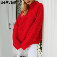 BeAvant Casual red knitted winter sweater 2018 Streetwear warm loose pullover sweater Women tricot pull jumper pullover female