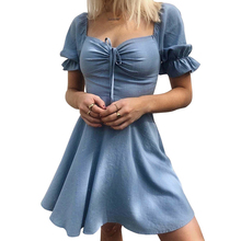 купить Women Ruffle Dress With Puffed Lantern Sleeve Vintage Lace Up Front Dress Square Neck Bow A-Line Casual Elegant Blue Dress Hot онлайн