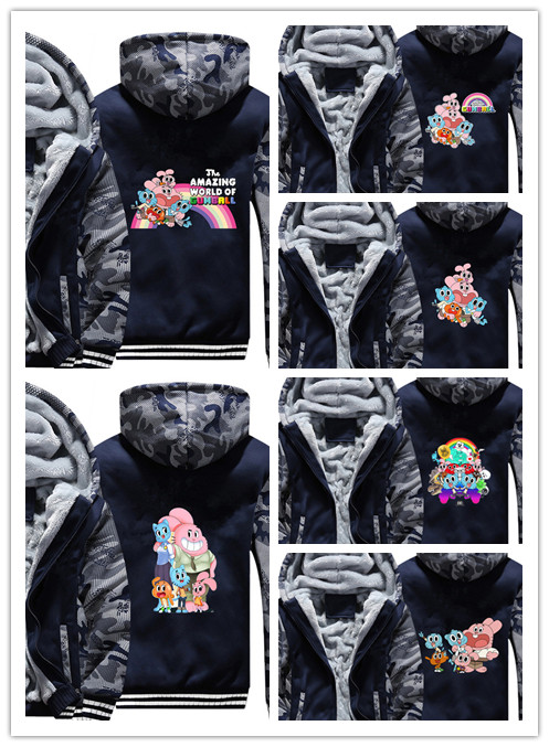 The Amazing World of Gumball Hoodie Winter Casual Super Warm Coat Thicken Camouflage Zipper Hooded Casual Sweatshirts for winter