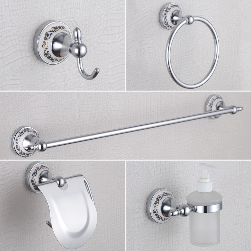 chrome bathroom accessories blue and white luxury soap dispenser towel railcoat hook