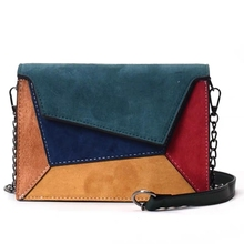 JULIE hot sale high quality leather patchwork women's messenger bag female chain shoulder strap small cross women handbag