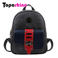 Toposhine Hit Color Spiraea Turning Lock Women S Backpack Vintage Famous Brand Backpack Solid Retro Girls