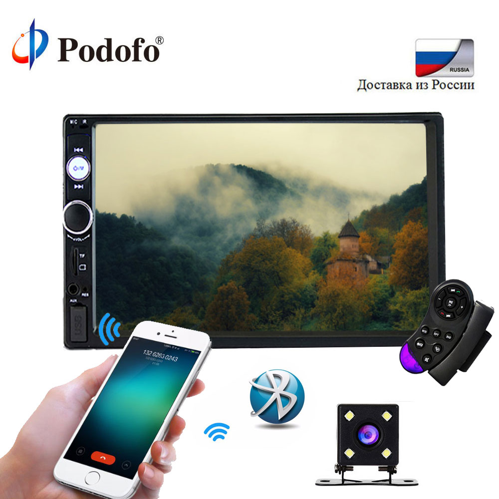 "Podofo 2din 7023B Car Radio 7"" Touch In Dash Auto Audio Player MP5 Player Autoradio Bluetooth Rear View Camera Remote Control(China)"