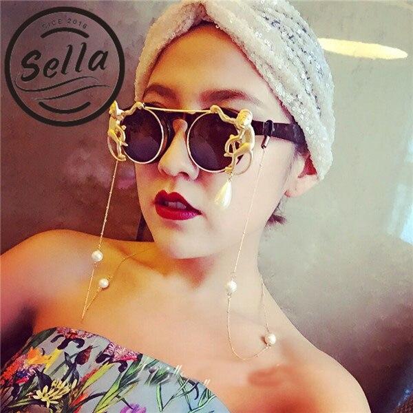 2017 nueva moda Retro ronda mono decoración cadena de Metal barroco Sunglasse diseñador de marca de lujo Clamshell gafas fresco