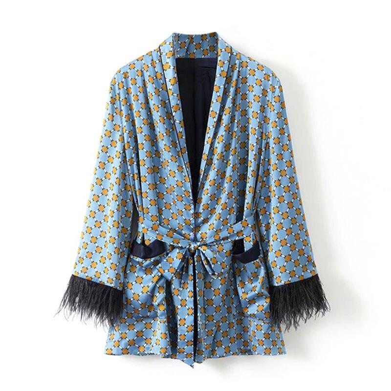 Femmes Manteau Cheveux Floral Ceinture Bleu Blue Type Vintage Autruche Outwear Lâche Manches Rayonne 2018 Élégant Top Foral Imprimé Automne Pyjama xCqCYBX