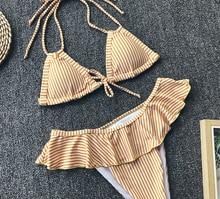 yellow striped swimwear women high waist bikini 2019 ruffle swimsuit halter bandage bikinis set push up swimming bathing suit