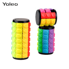 New 3D Rotate Slide Stress Cylinder Cube Kids Puzzle Toy Slider Toy Cube Colorful Clinder Sliding Puzzle Sensory Puzzle Toy