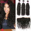 7A Unprocessed Human Hair Brazilian Curly Virgin Hair Water Wave Hair With Lace Frontal Cheap 13x4 Lace Frontal With 3 Bundles