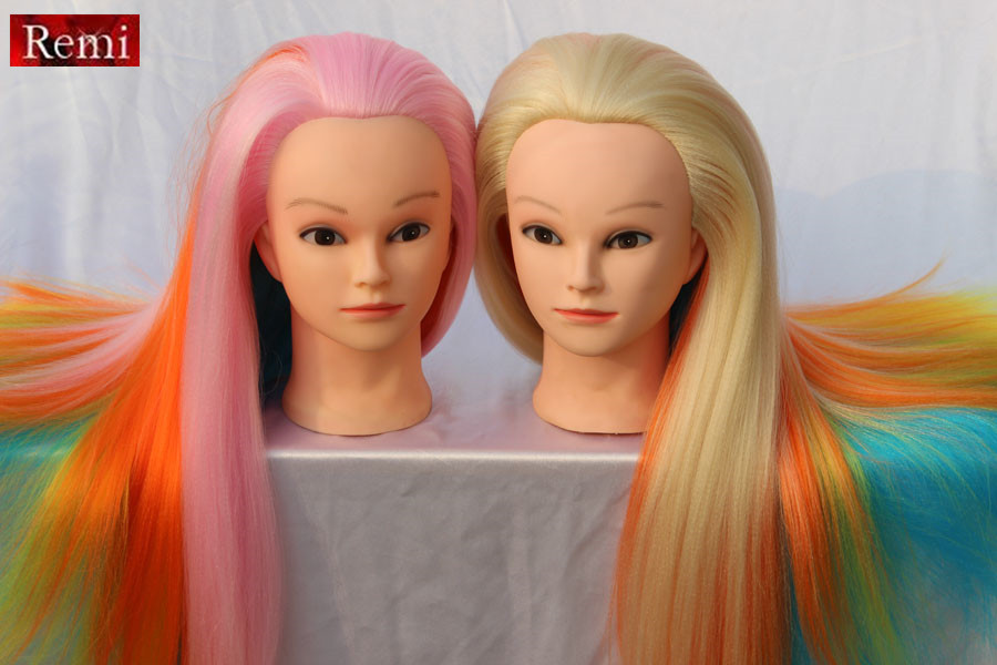 Hair Styling Mannequin Head: Colored Hairdresser Mannequin Head Hair Styling Training