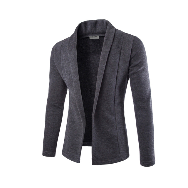 Hot new men's 2016 korean fashion trend of casual Slim solid color simple V-neck long-sleeved knit cardigan jacket