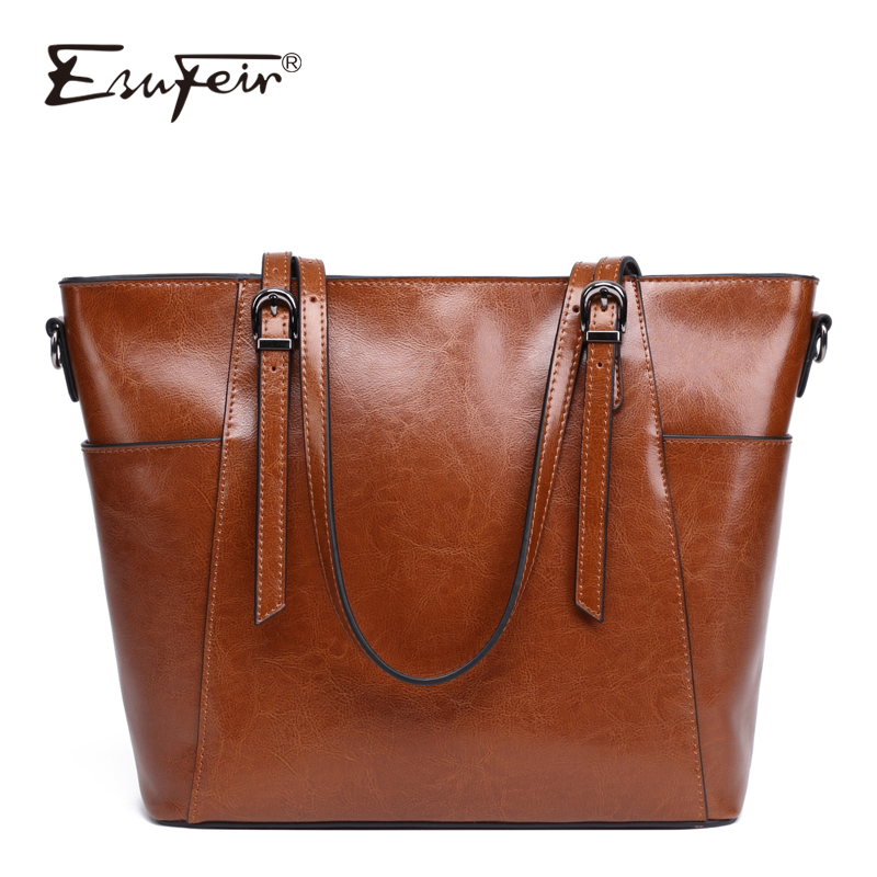 ESUFEIR Brand Genuine Leather Shoulder Bags Oil wax leather handbag for women Famous Designer Large Capacity Casual Tote Bags new 2017 fashion brand genuine leather women handbag europe and america oil wax leather shoulder bag casual women