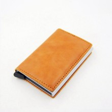 Brand 2019 Men Blocking Rfid Wallet Mini Genuine Leather Business Aluminium Credit Card Holder Purse Automatic Slide Card Case(China)