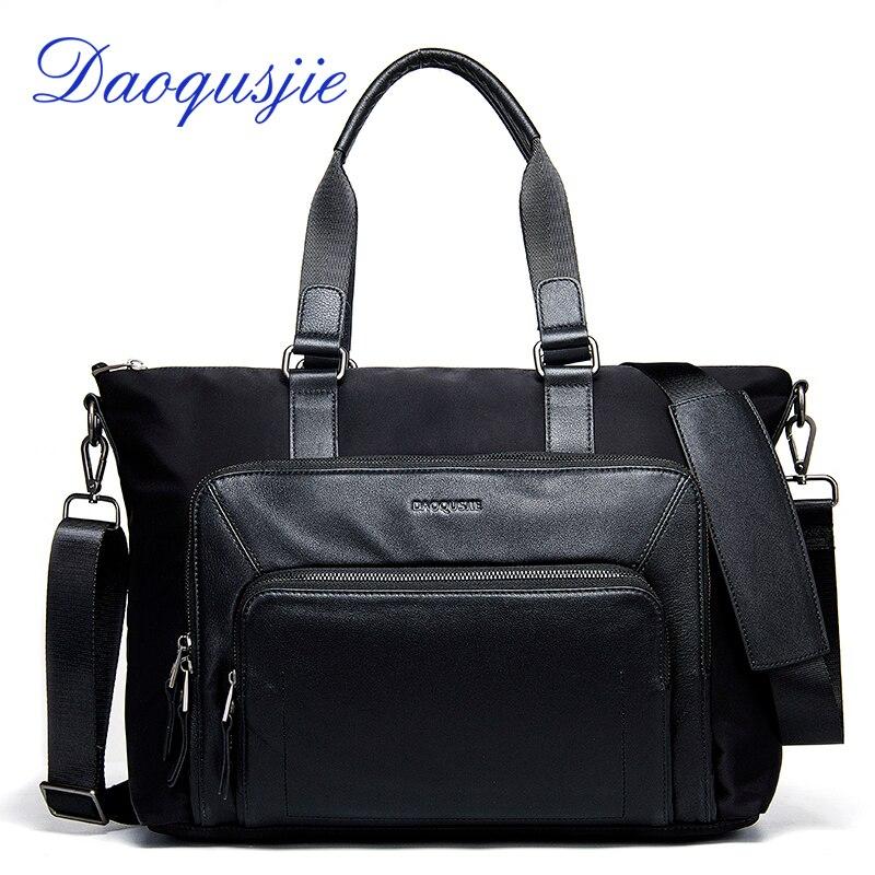 DAOQUSJIE men's shoulder bags waterproof nylon handbags for man with genuine leather over the shoulder bag male messenger bag