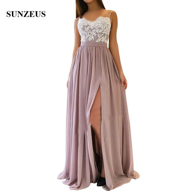 0797eb0785 A-line Spaghetti Straps Long Chiffon Bridesmaid Dresses With Appliques Lace  Side Slit Women Party Gowns Wedding Guest Dress
