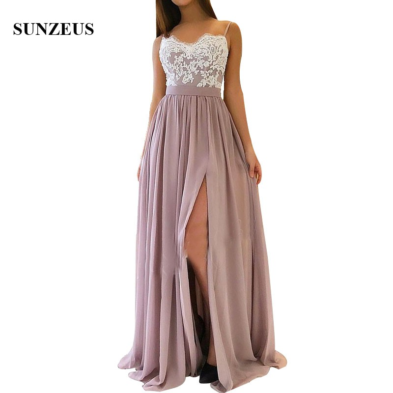 A-line Spaghetti Straps Long Chiffon   Bridesmaid     Dresses   With Appliques Lace Side Slit Women Party Gowns Wedding Guest   Dress