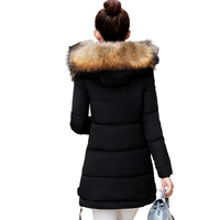 2018 fur collar plus size 3XL women winter hooded coat female outerwear parka ladies warm long jacket slim jaqueta feminina 4