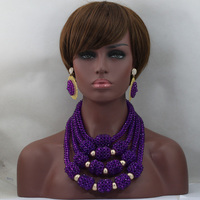 Charming Purple African Statement Wedding Necklace Set Gold Plated Crystal Pendant Bib Bridal Jewellery Set Free