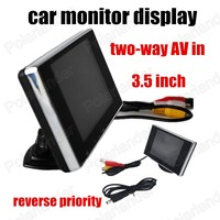 Free shipping reverse priority two channels AV Input in 3.5 inch Car monitor Color TFT LCD Monitors for Rearview camera