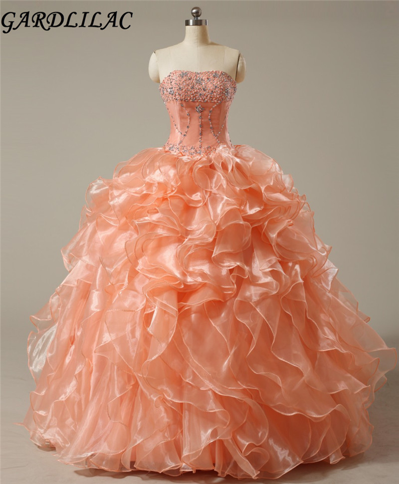 Robes de Soirée Orange Quinceanera Orange 2017 Robes Bretelles Organza Quinceanera Robes Sur Mesure