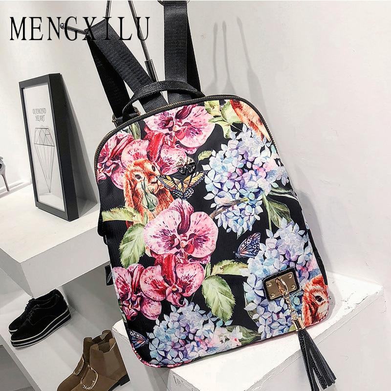 MENGXILU National Flowers Backpack Fashion Printing Women Bag Backpacks For Teenage Girls Hot Sale Black Women Backpack Sac 2018