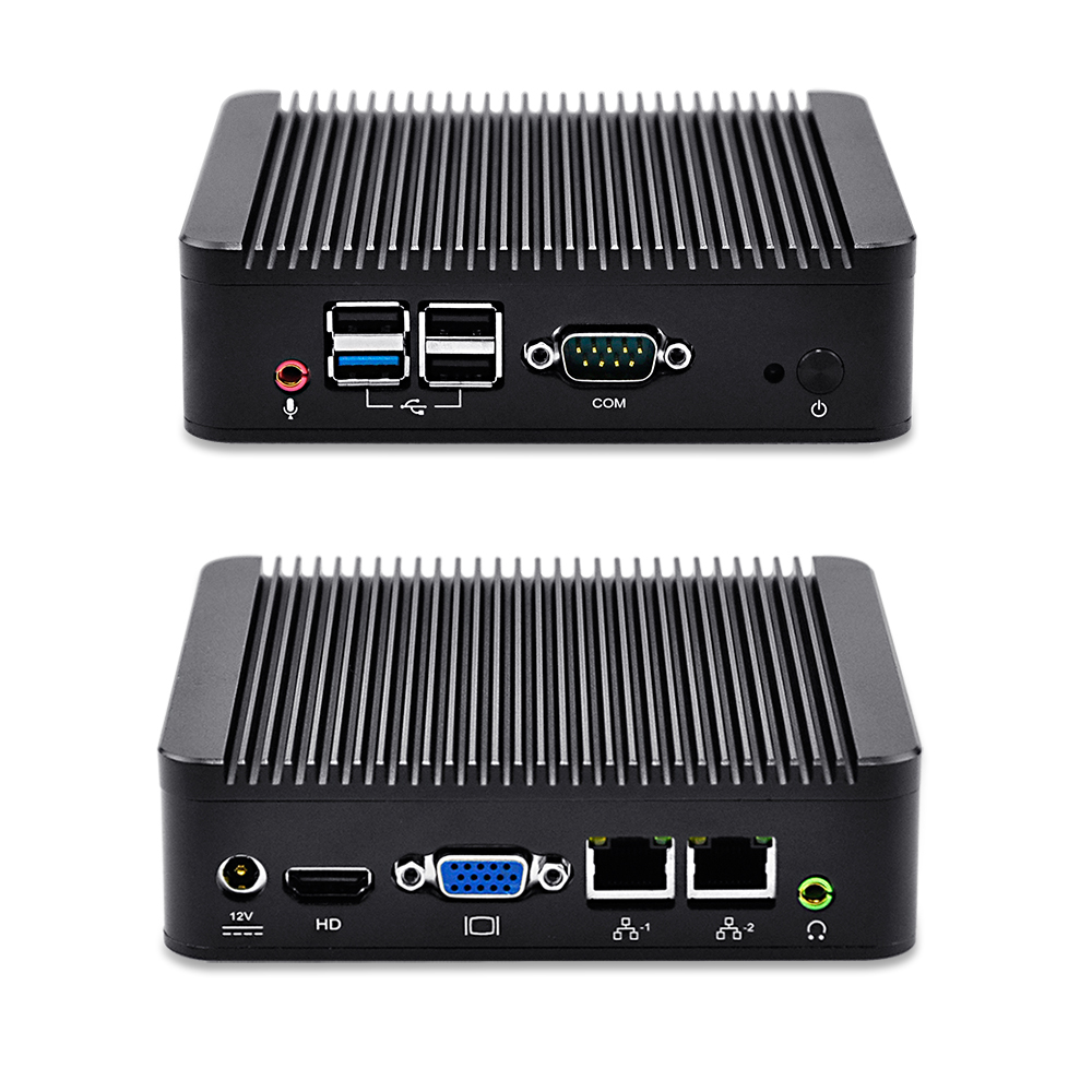 QOTOM Q190S Latest new 2 LAN Nano industrial pc J1900 Fanless 12V