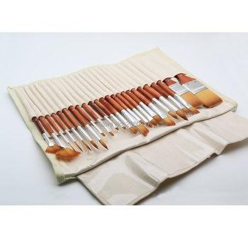 Acrylic Paint Sets | 2281 24pcs Set With Fabric Bag Fine Taklon Hair Wooden Handle  Silvery Ferrule Watercolor & Acrylic Brush