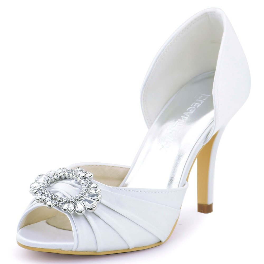 A2136 Ivory White Beige Women Shoes Bride Bridesmaids Open Toe Prom Pumps High Heels Rhinestone Pleat Satin Wedding Bridal Shoes