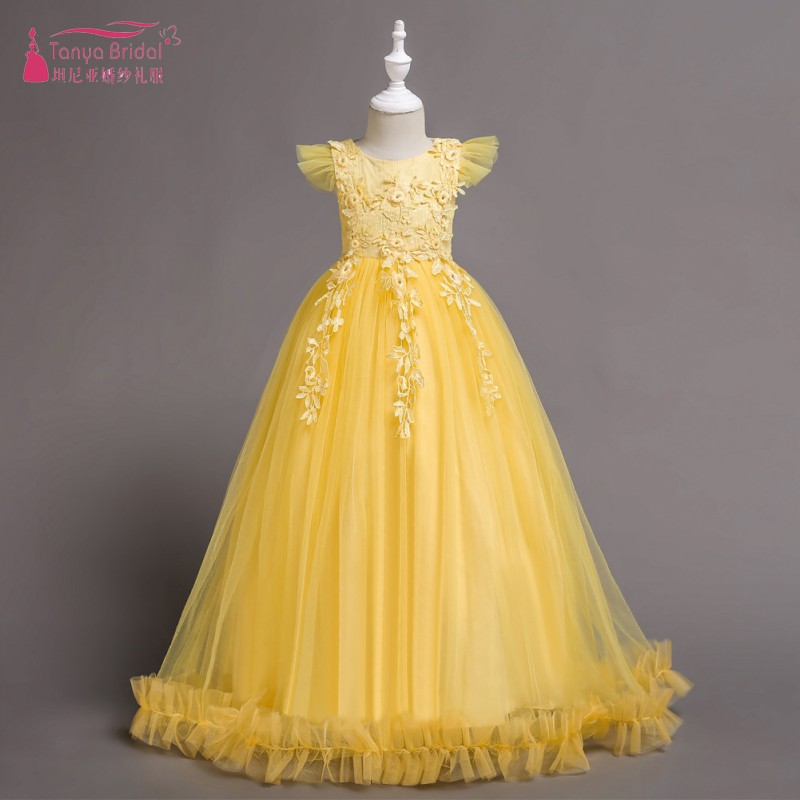 Bright Yellow   Flower     Girls     Dresses   For Wedding puff Elegant pageant   dresses   for   girls   vestido comunion 6 colors instock ZF108