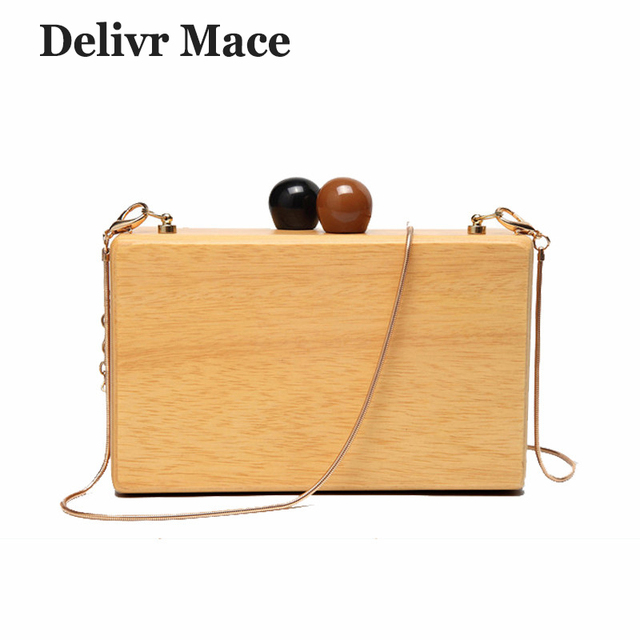 ed373c922e Women s Small Bag Wood Autumn Vintage Evening Clutch Bag Box Woody  Messenger Bags for Women 2018