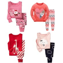 51cfbd359a Christmas girls pajamas Toddler Pink Long Sleeve T-shirts pants 2-set pjs  Children